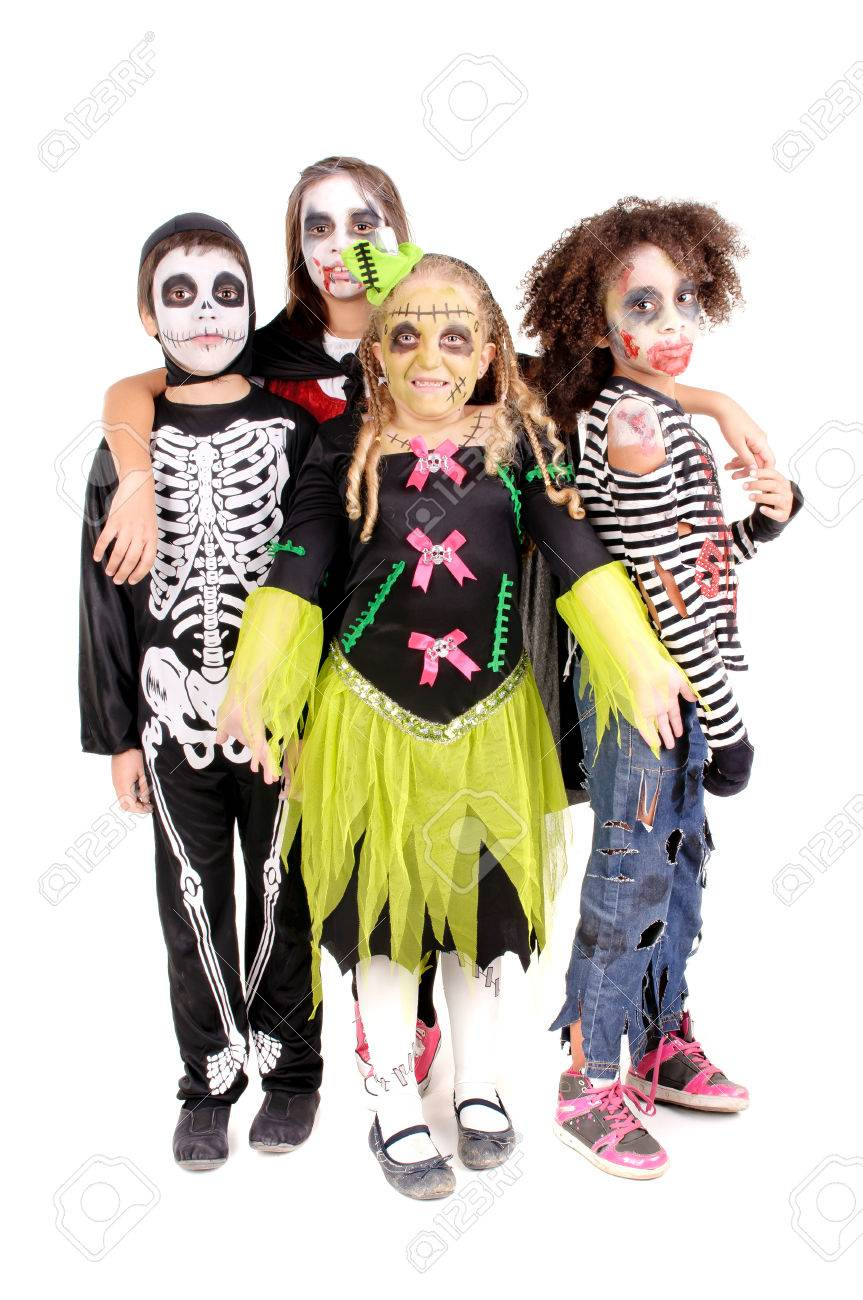 group of little kids with scary costumes on halloween isolated in white stock photo