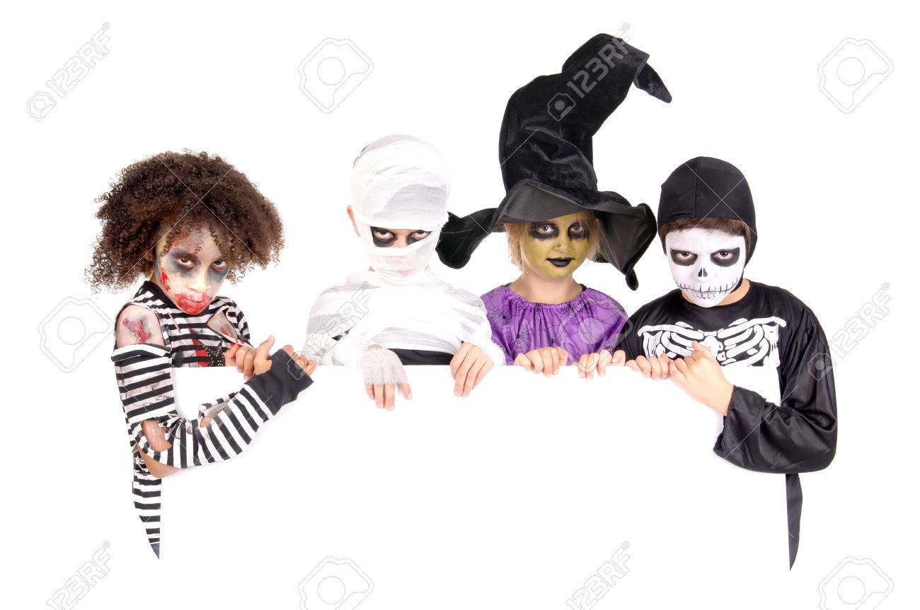 group of little kids with scary costumes on halloween isolated in white Stock Photo - 33420001  sc 1 st  123RF.com & Group Of Little Kids With Scary Costumes On Halloween Isolated ...