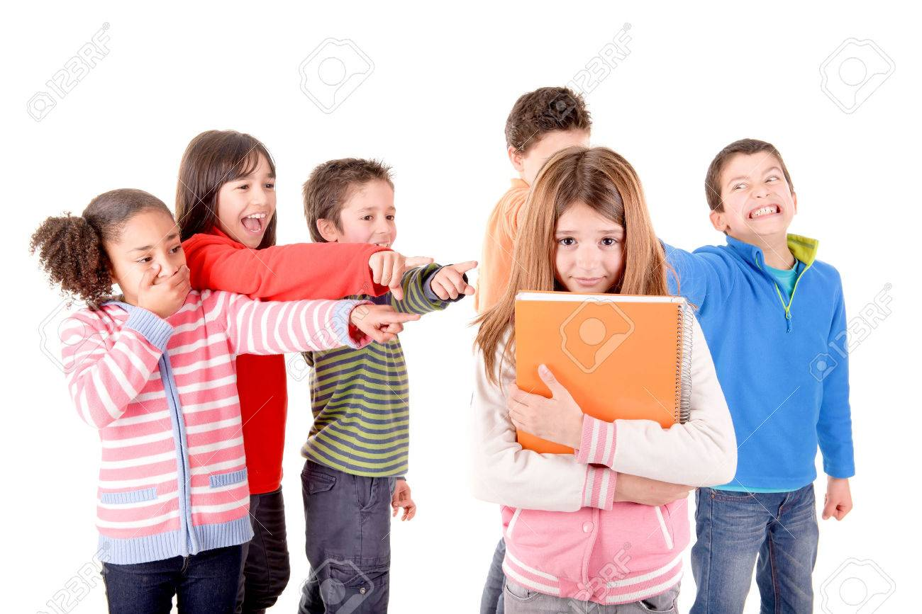 little kids bullying another kid isolated in white - Images Of Little Kids