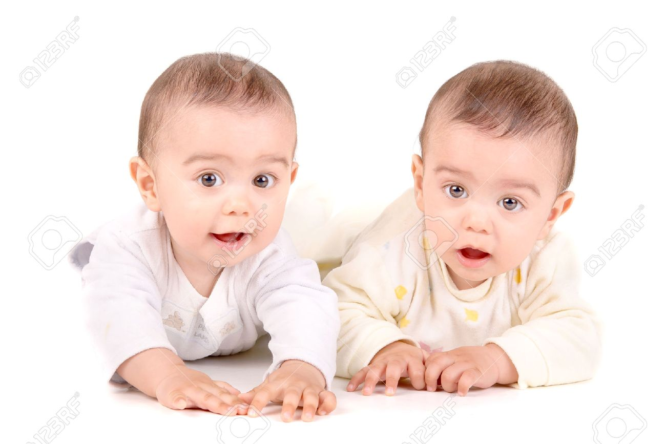 Cute Twin Babies Isolated In White Background Stock Photo Picture