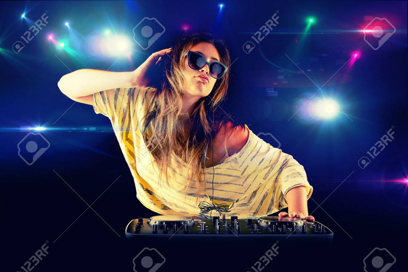 Dj Girl Dancing With Light On ...
