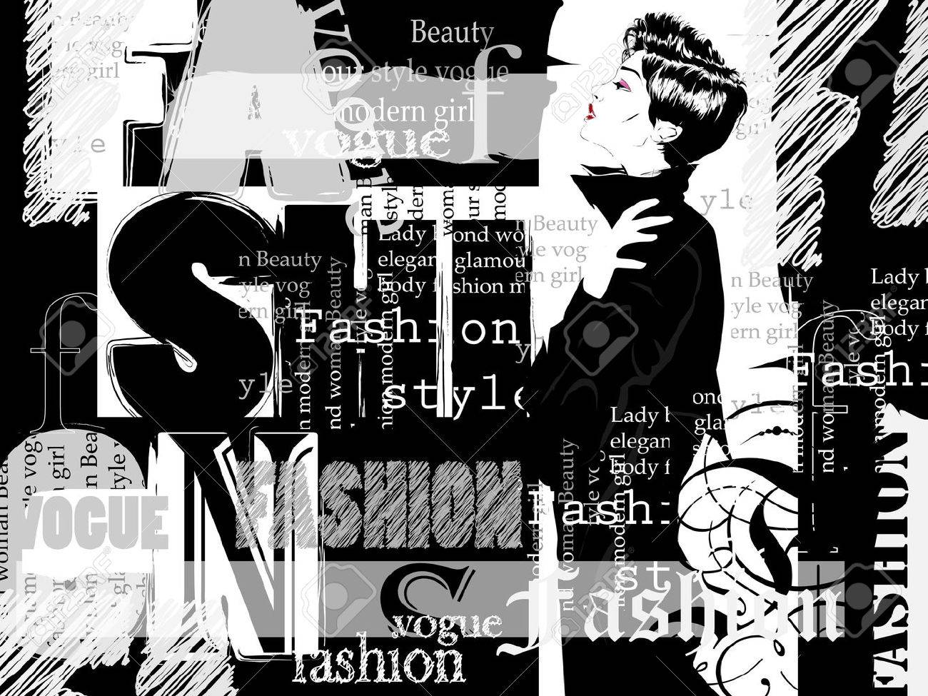Vintage fashion background  Letters, words and stylish girl