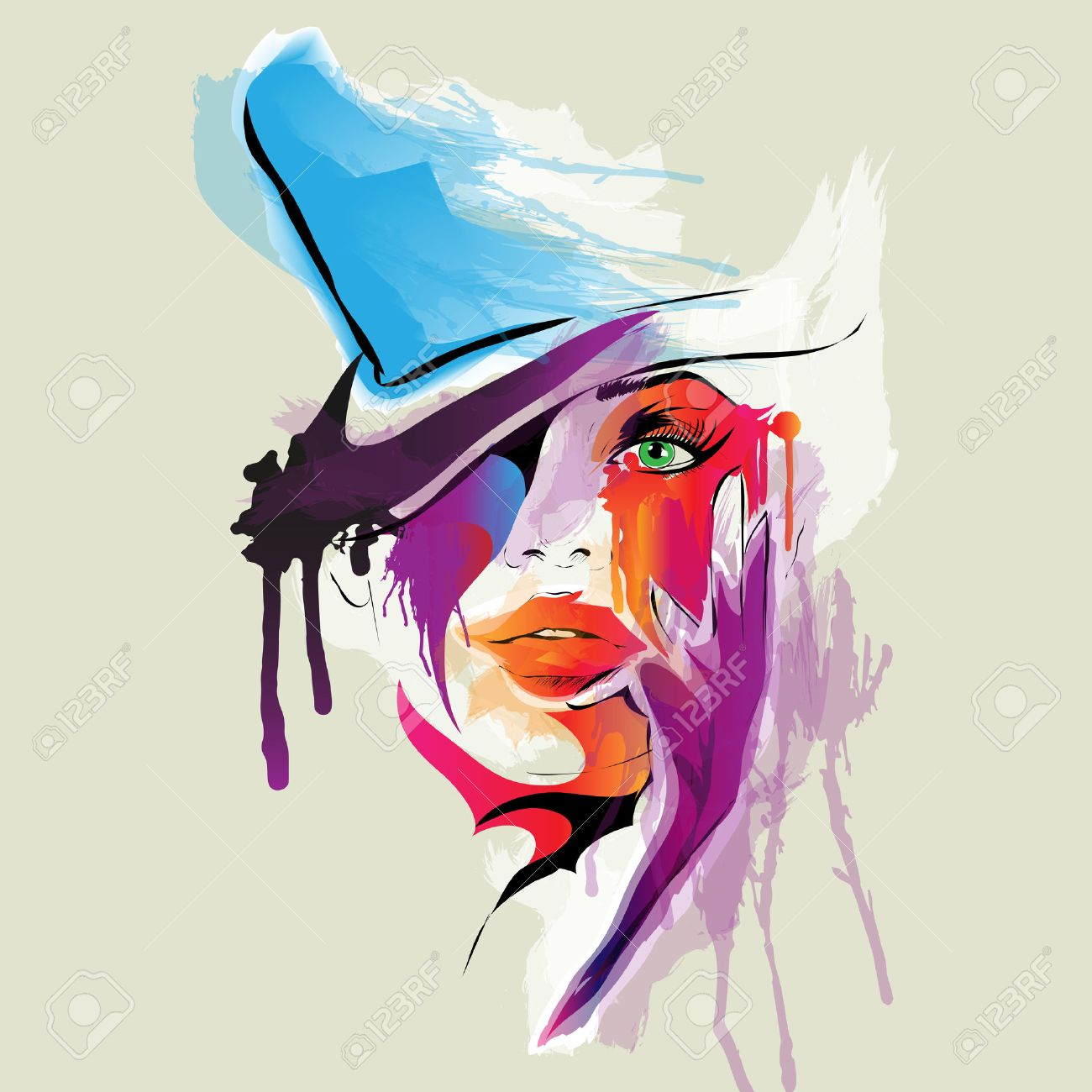 Abstract Woman Face Illustration Royalty Free Cliparts, Vectors ...