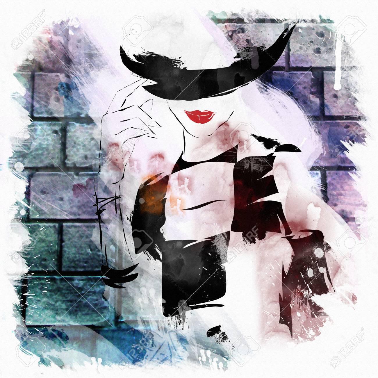 Fashion Girl Croquis De Style La Jeune Fille Dessinée Sur Un Mur