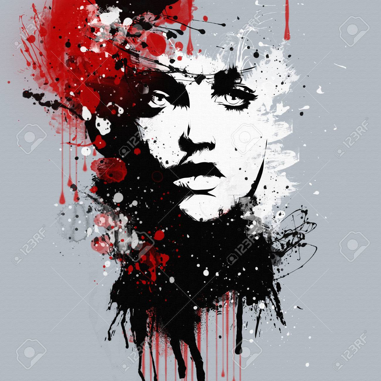 Fashion womans face abstract print for t shirt stock photo 43833518