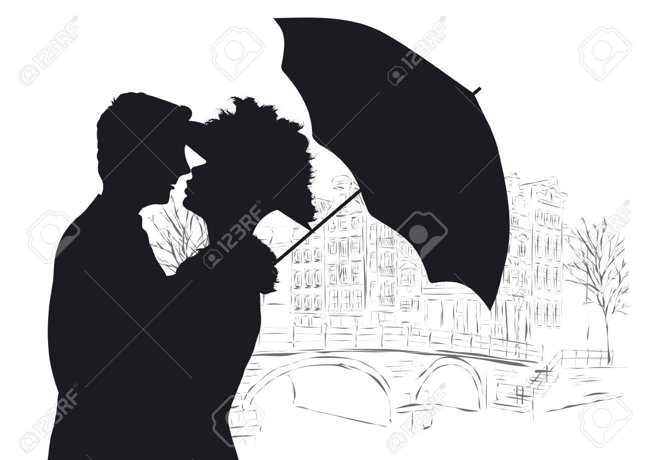 Baiser Amoureux heureux jeune couple baiser amoureux à amsterdam clip art libres de