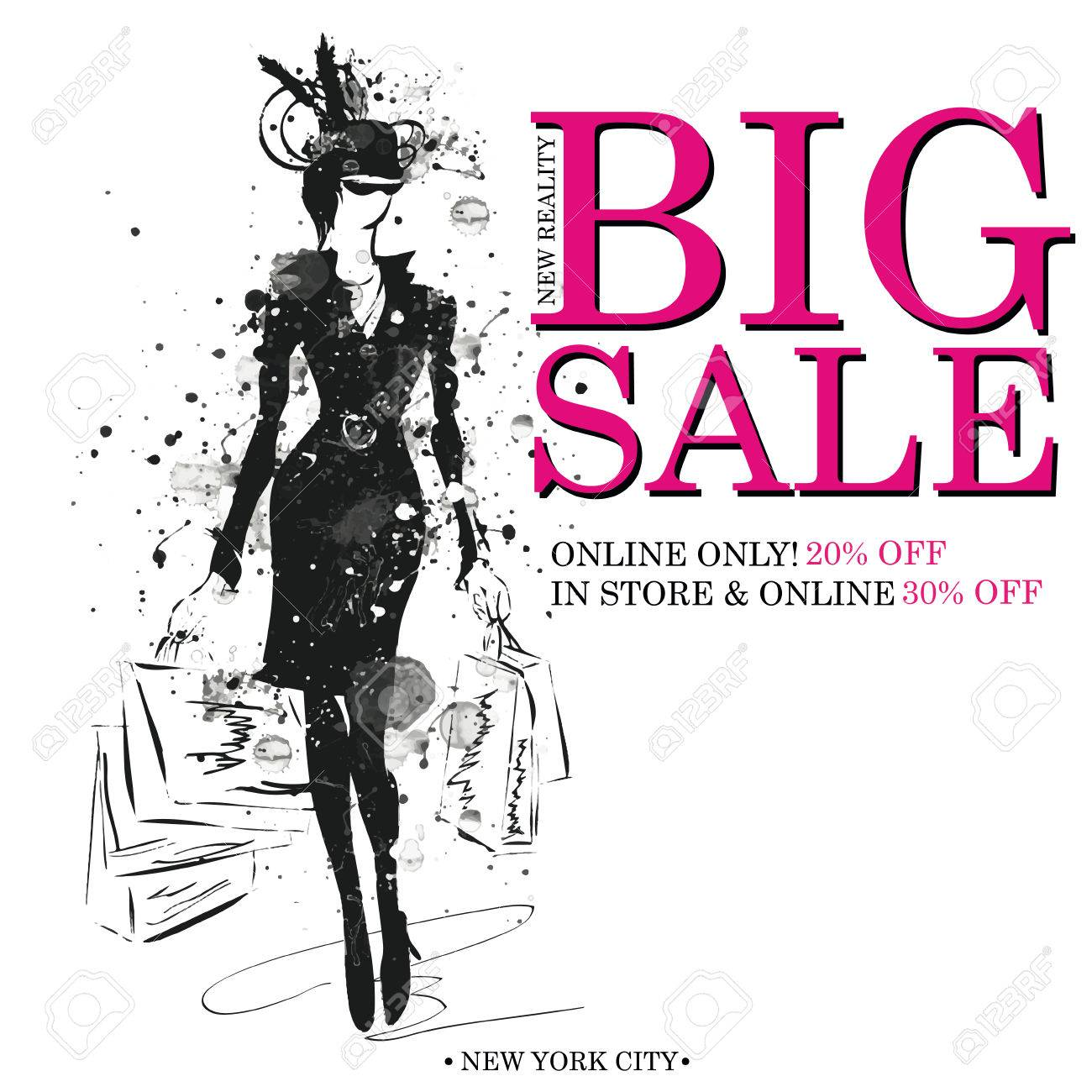 Fashion Shopping Design Template With Fashion Girls Silhouette