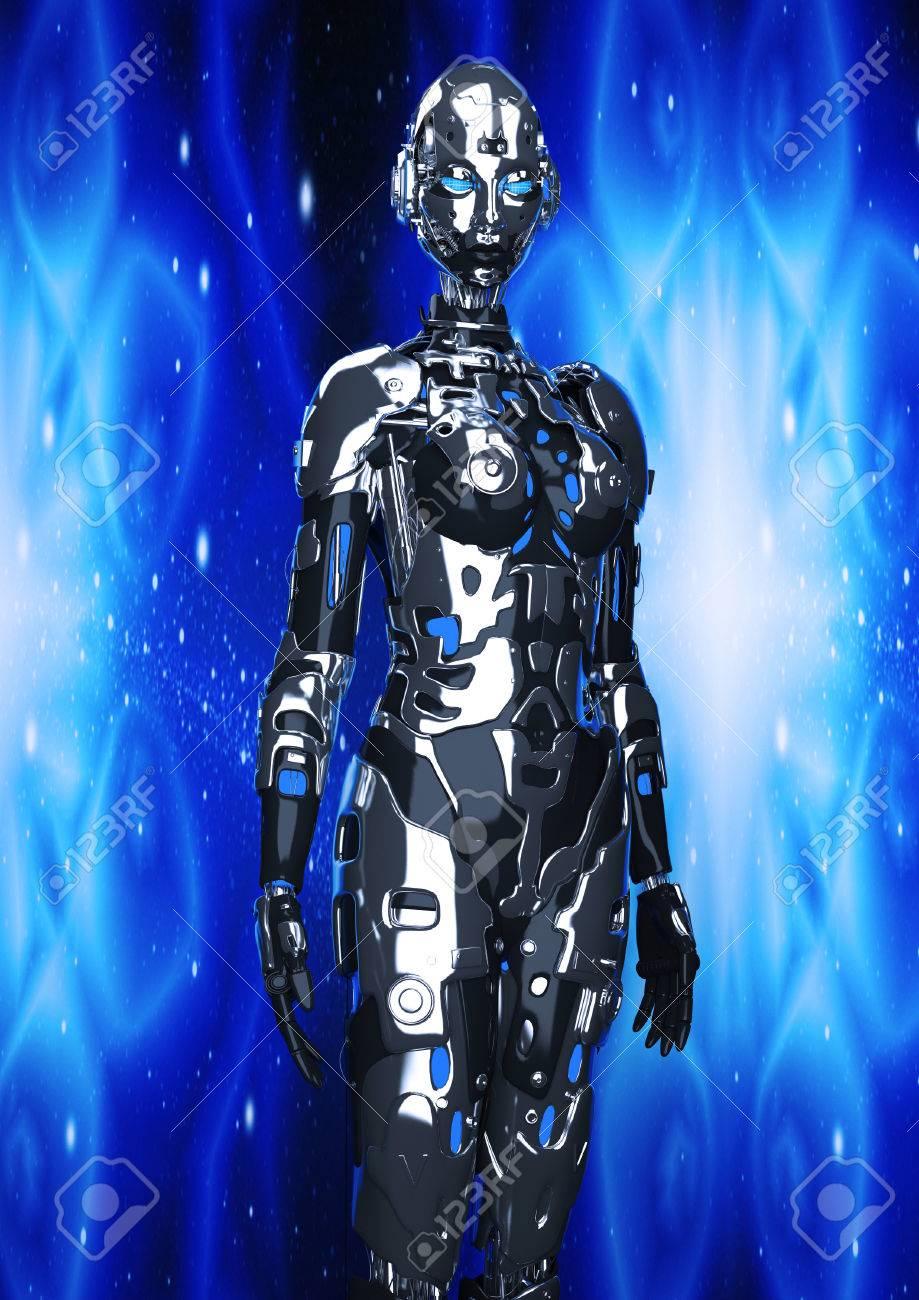 3 D イラスト。サイバー パンクのスタイルのファッションの女の子。
