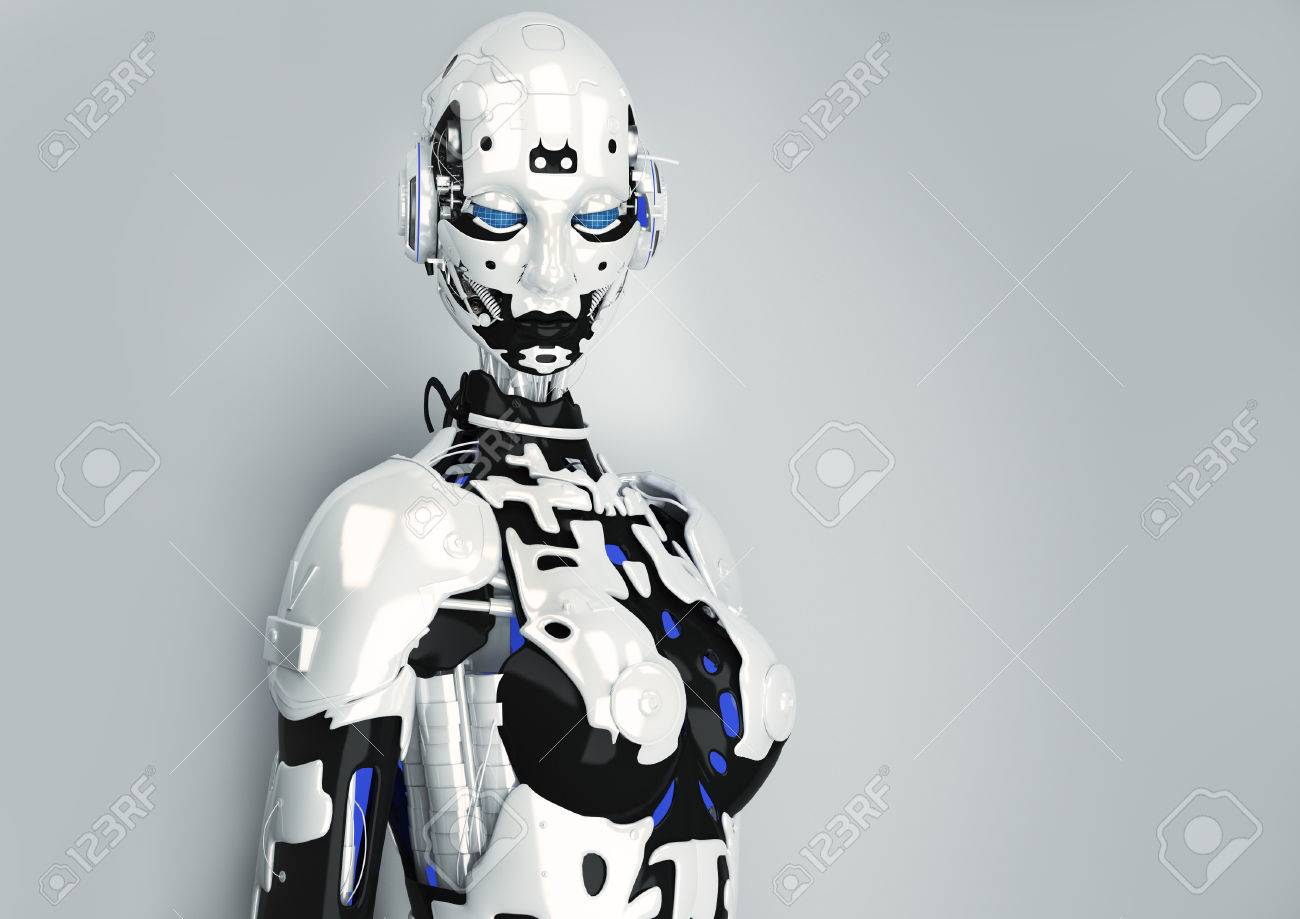 3 D イラスト。サイバー パンクのスタイルのファッションの女の子。未来的なファッション アンドロイド