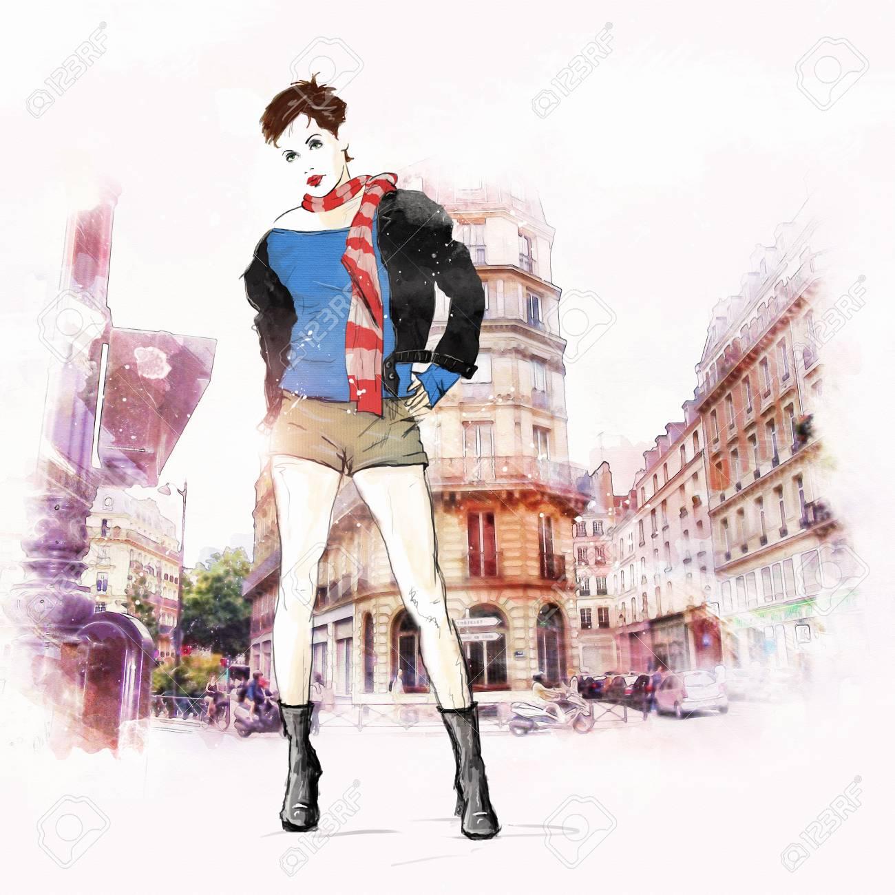 スケッチ スタイルのファッションの女の子。ファッション イラスト