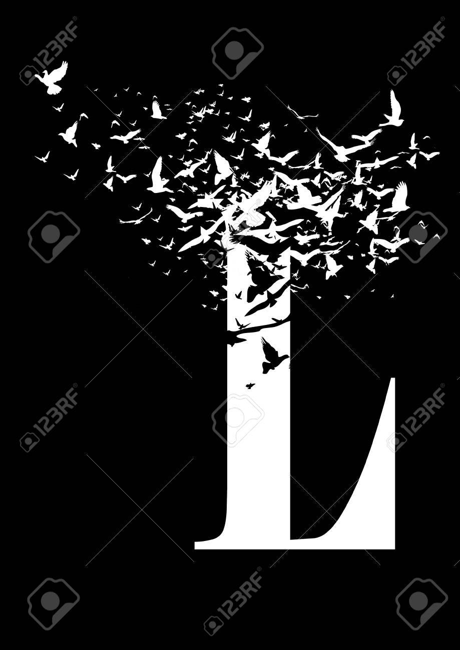 Letter L On A Black Background With Birds Stock Photo