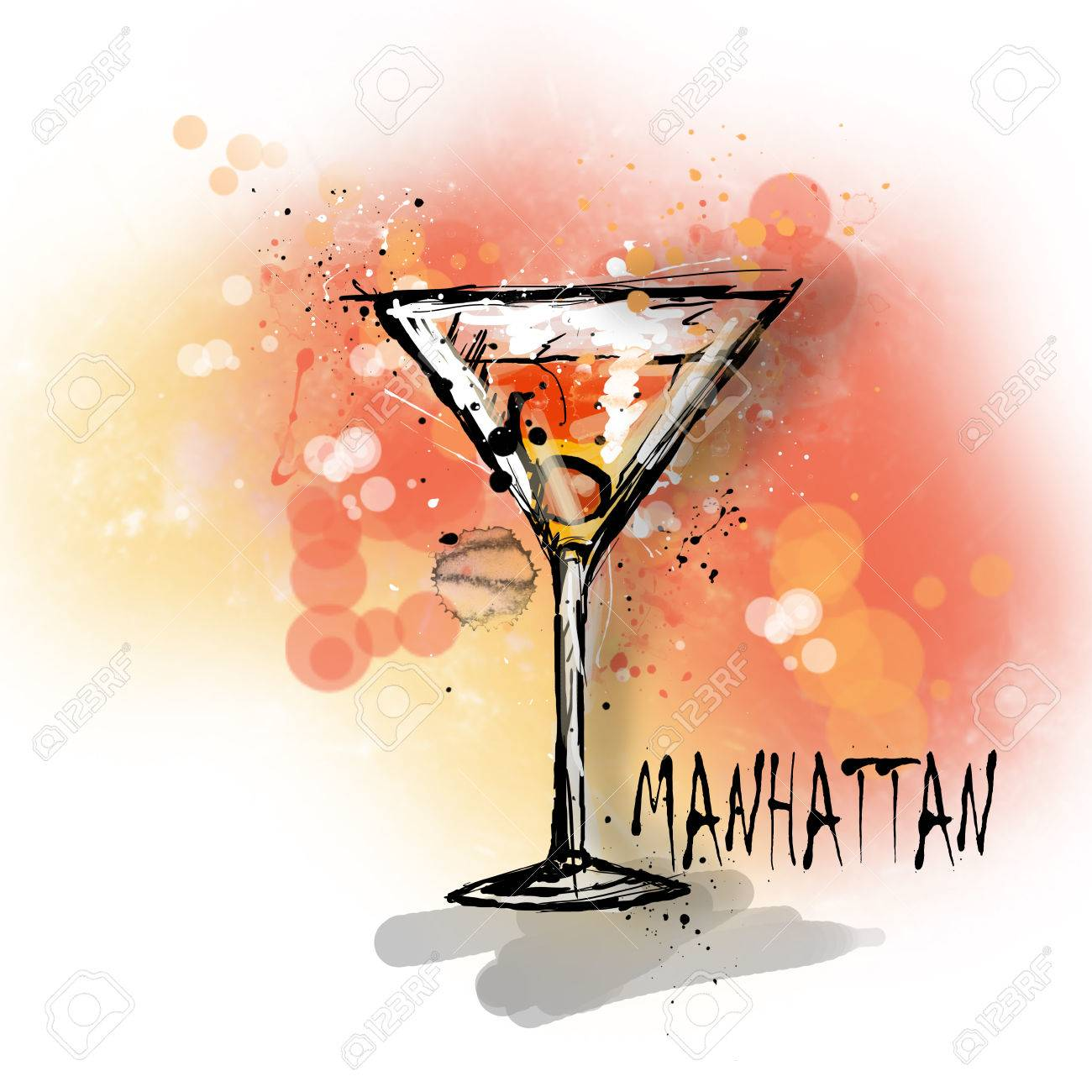 Hand Drawn Illustration Of Cocktail Manhattan Cocktail Stock Photo Picture And Royalty Free Image Image 67734158