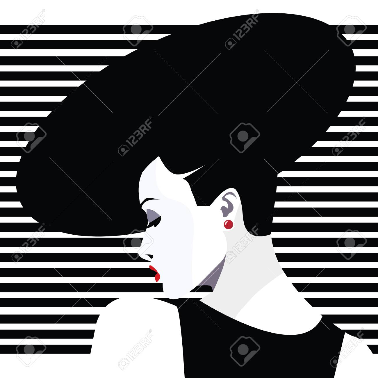 Fashionable woman in pop art style icon stock vector 85578443