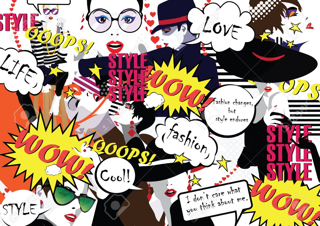 Group Portraits Of Fashion Women In Style Pop Art Stylish Collage