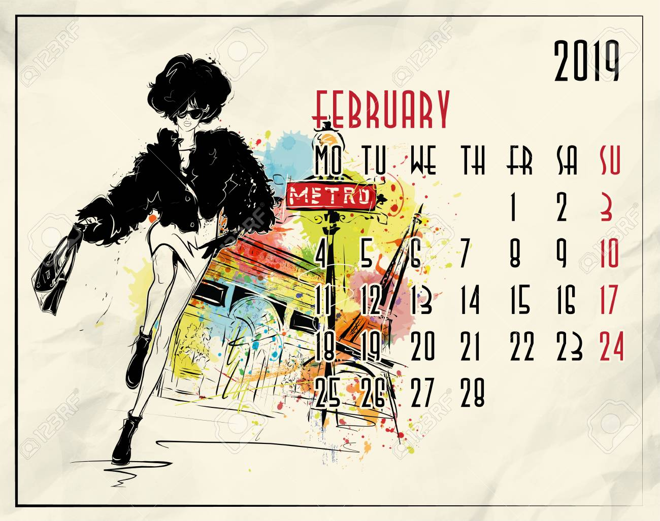 February 2019 Fashion Calendar February. 2019 European Calendar With Fashion Girl In Sketch