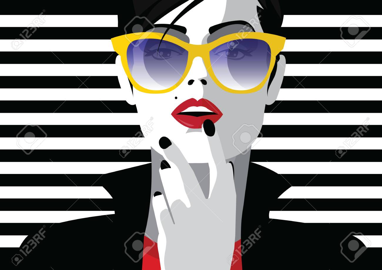 Fashion woman in style pop art. Vector illustration - 135932657