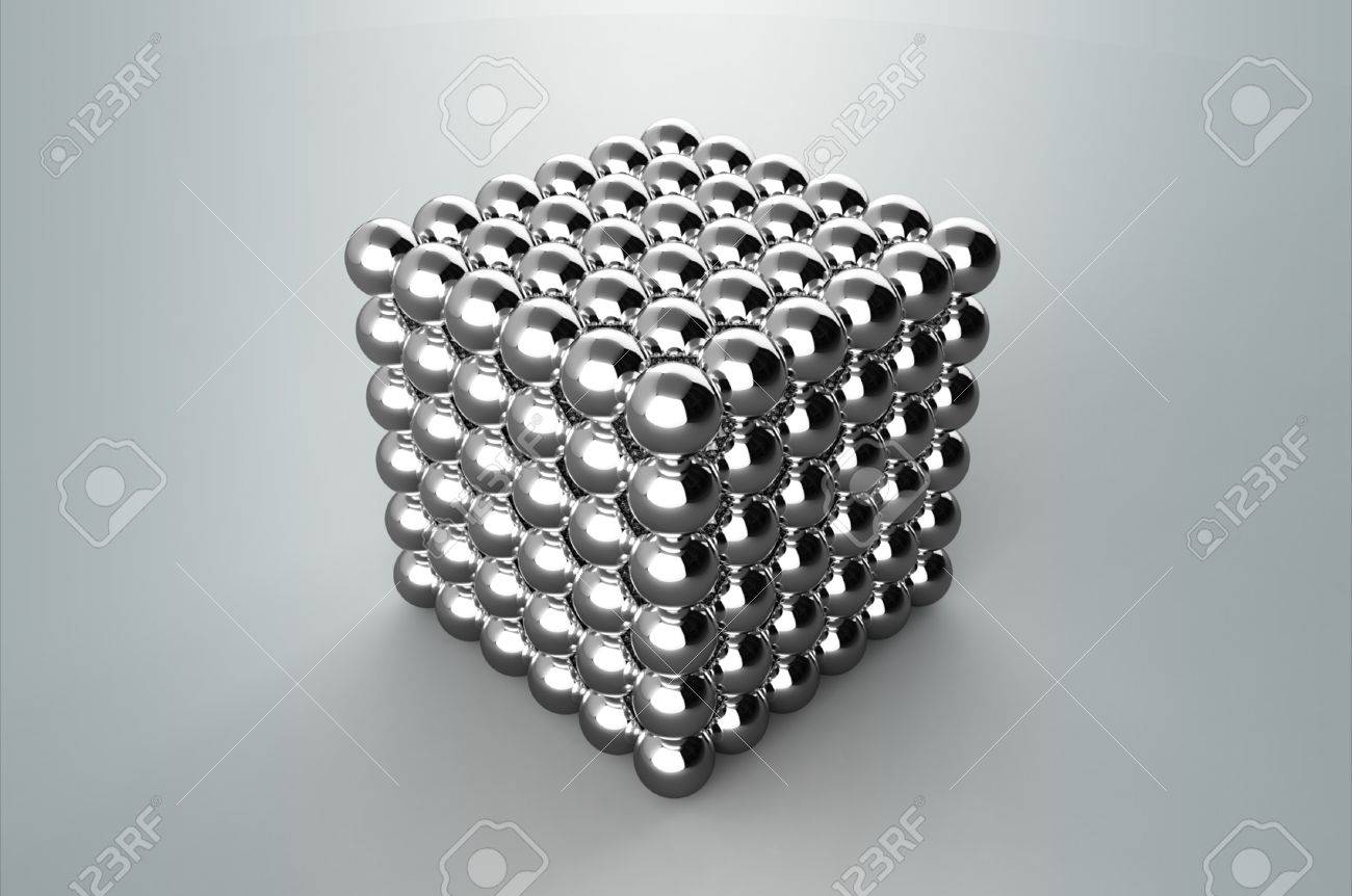 Cube from magnetic metal balls without Depth Of Field Stock Photo - 10697152