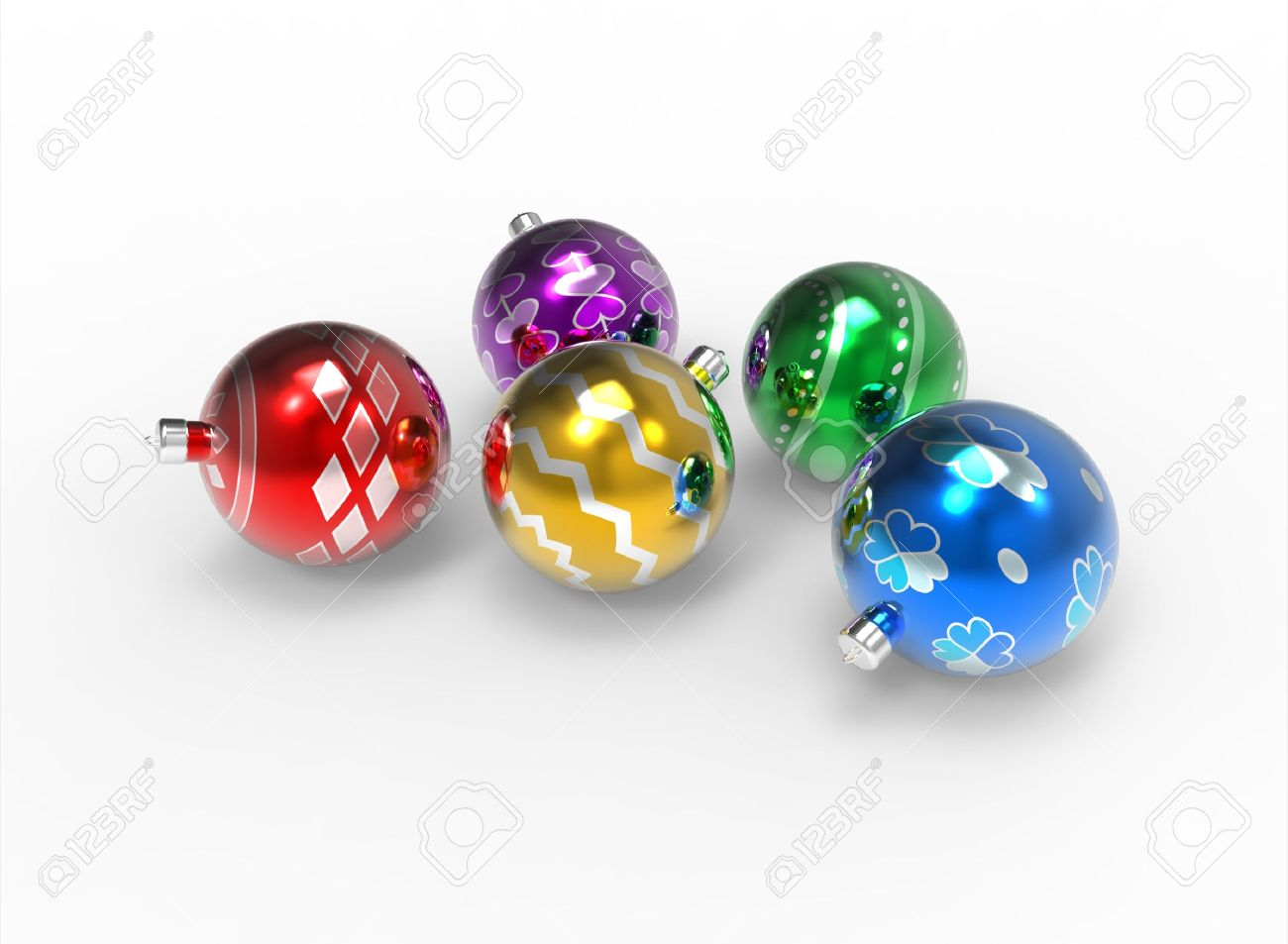 Christmas colorful mirror baubles pack with different pattern on white background Stock Photo - 11027130