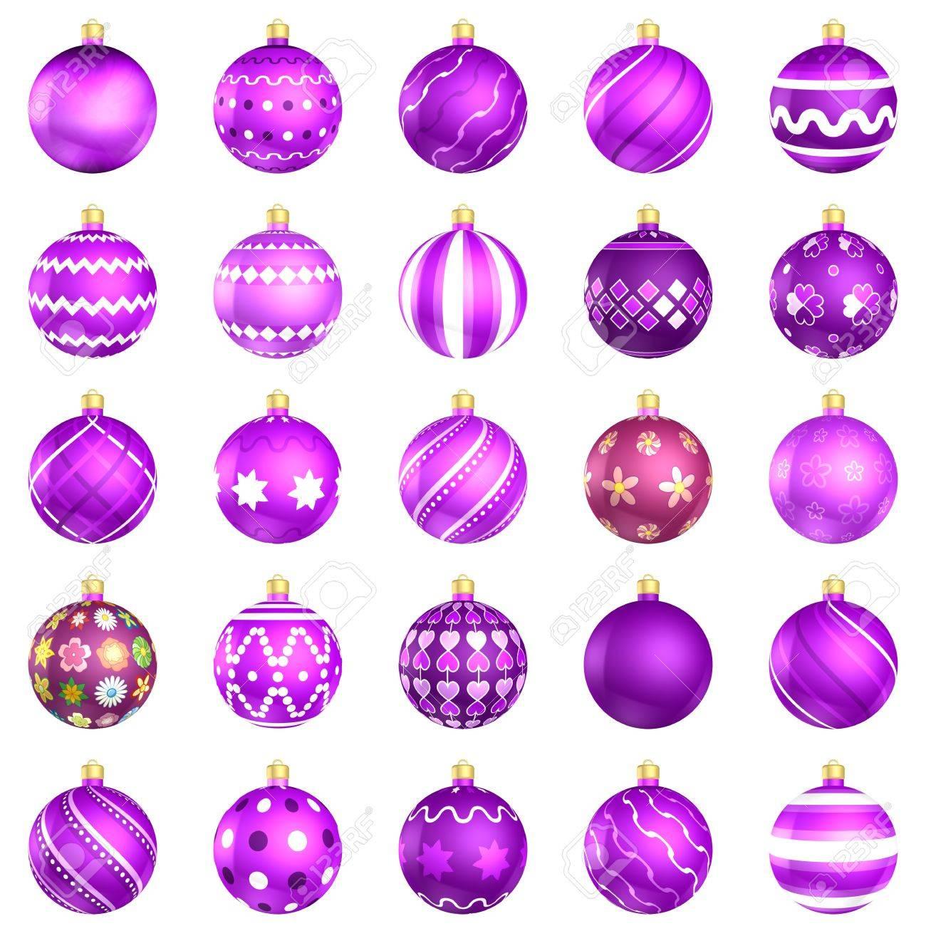 Boules De Noël Grande Violette Bloc 25 Sur Fond Blanc Banque D ...