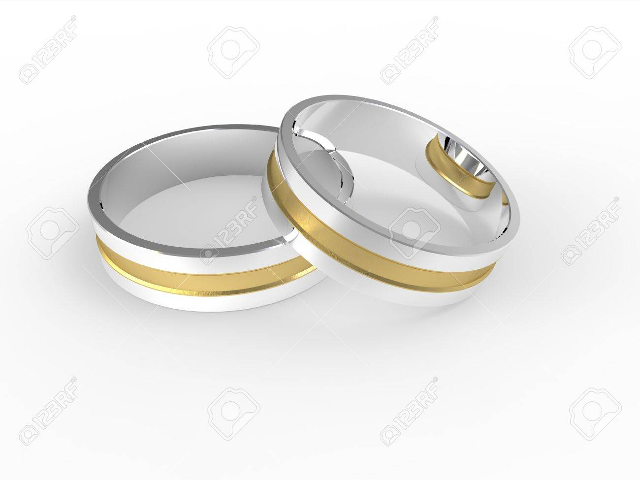 stock image gold silver wedding rings 3d image silver wedding rings Gold and silver wedding rings 3d