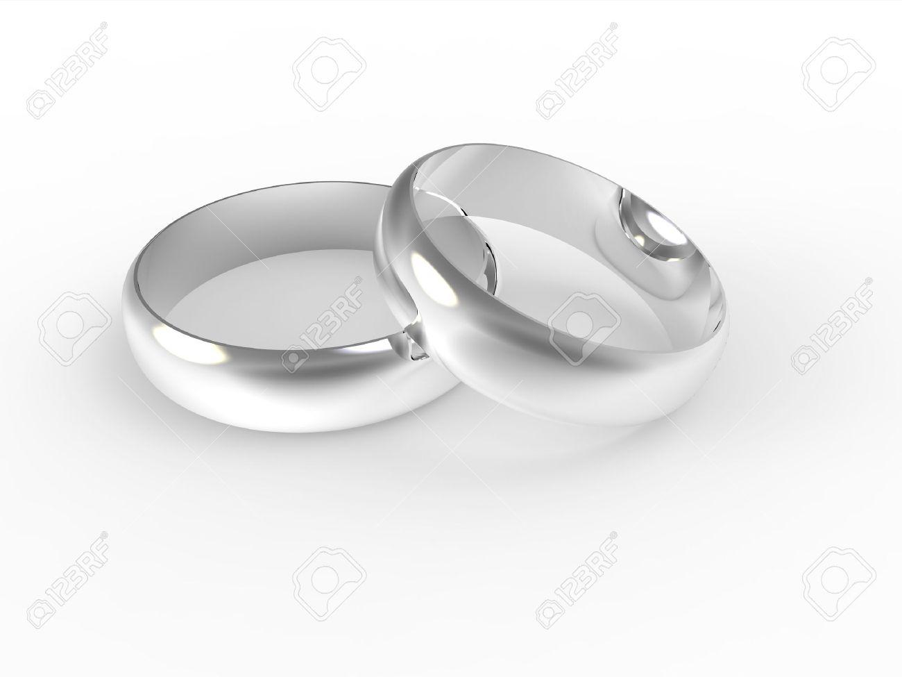 Anneaux De Mariage Dargent Isolé Sur Fond Blanc