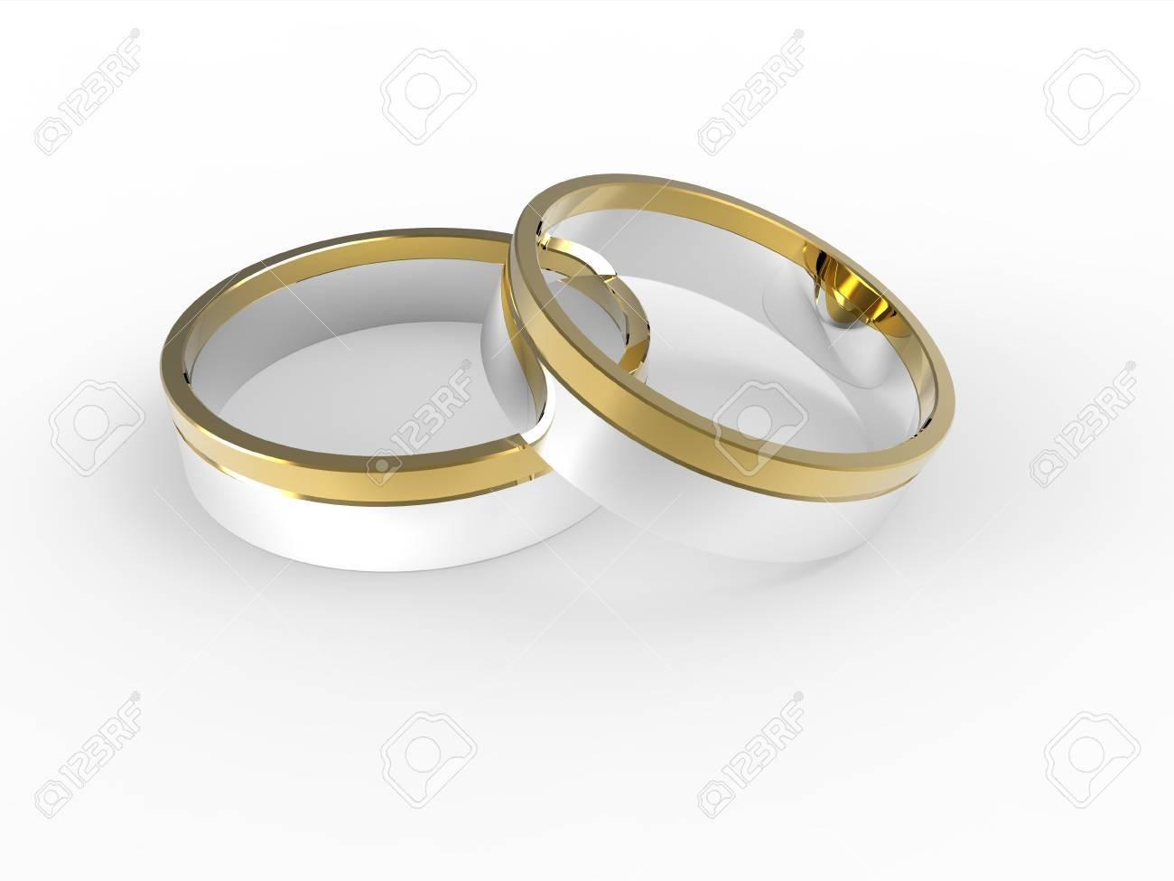 Goldene Und Silberne Hochzeit Ringe Isoliert Auf Weissem Hintergrund