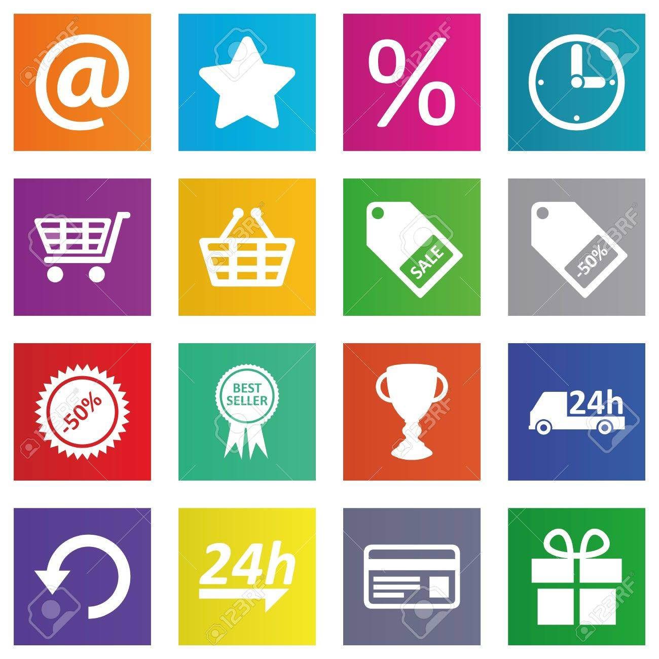Business, e-commerce, web and shopping icons set in metro style Stock Vector - 19087343