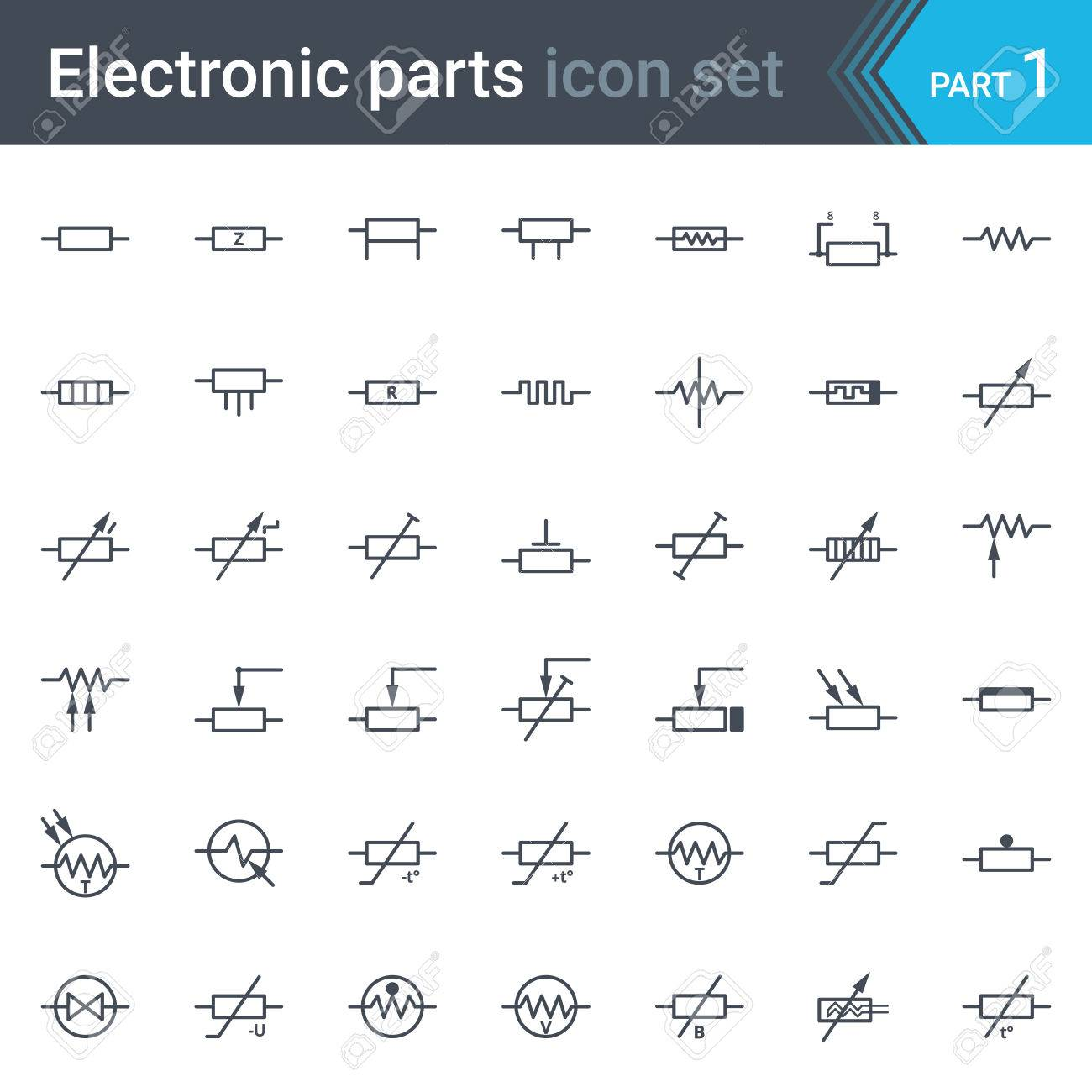 Complete Set Of Electric And Electronic Circuit Diagrams Symbols ...
