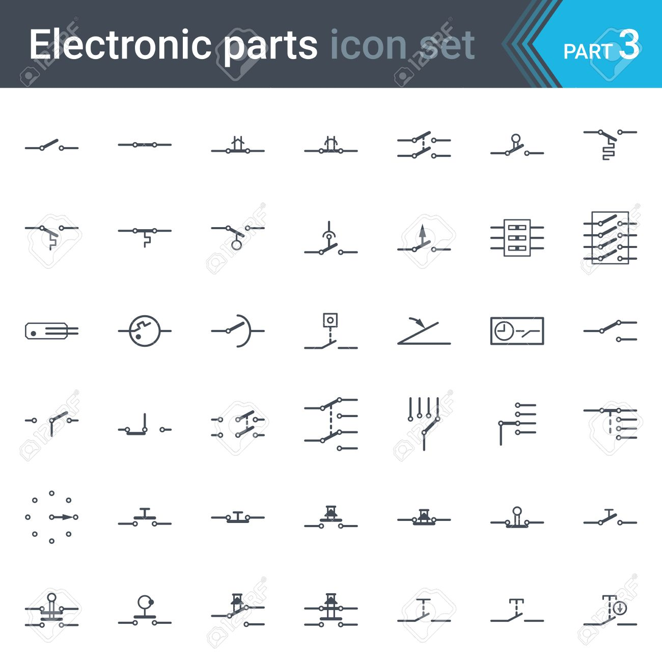 Complete vector set of electric and electronic circuit diagram complete vector set of electric and electronic circuit diagram symbols and elements switches pushbuttons biocorpaavc Gallery