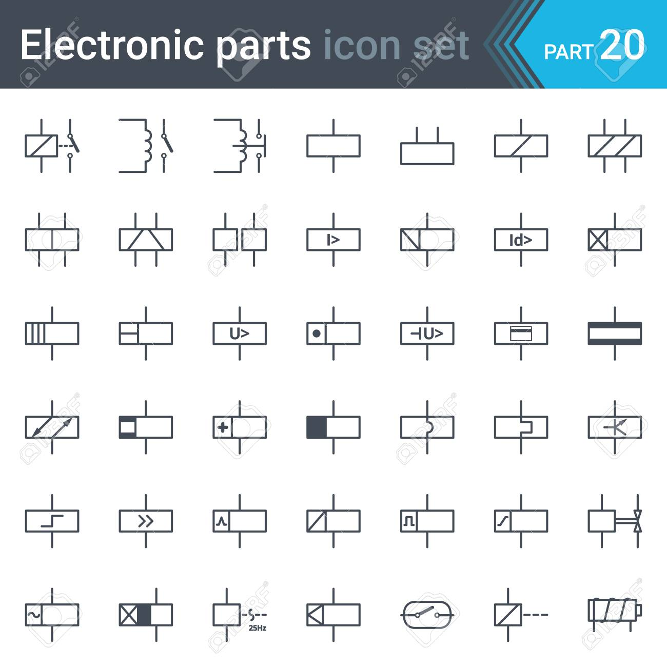 complete set of electric and electronic circuit diagram symbols and  elements - relays and electromagnets stock