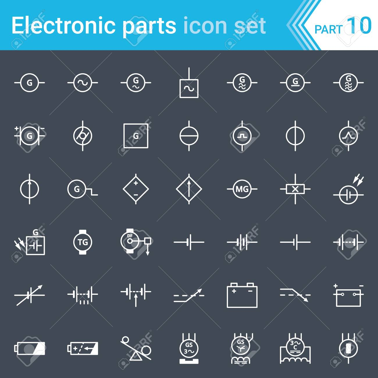 Electric And Electronic Icons Electric Diagram Symbols Generator