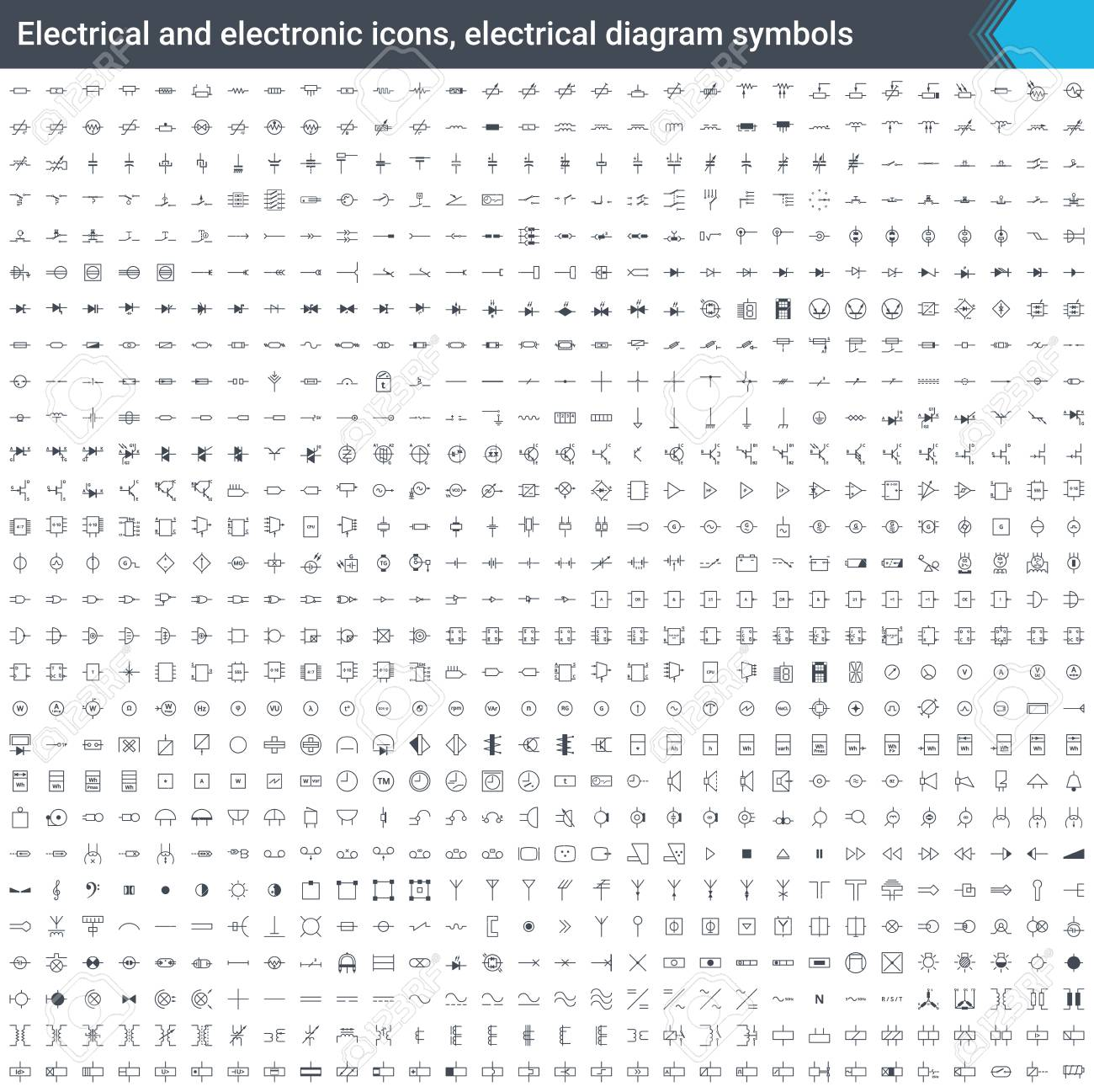 electrical and electronic icons, electrical diagram symbols  circuit diagram  elements  stoke icons isolated