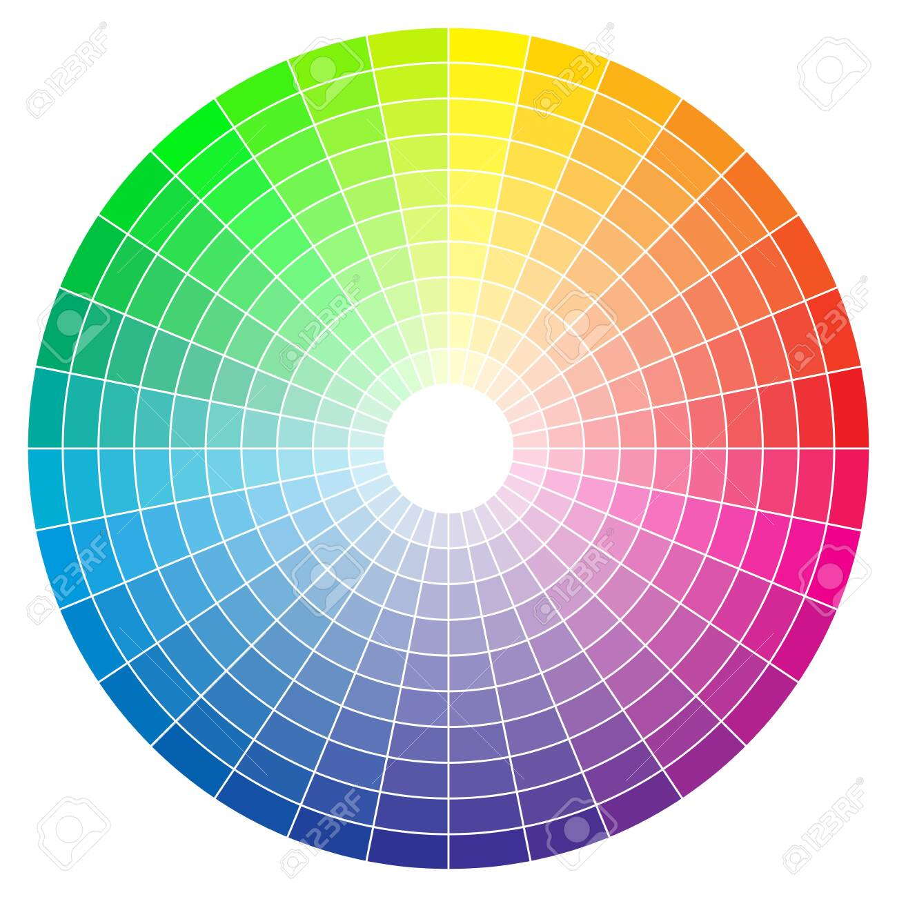Color spectrum abstract wheel, colorful diagram background. Color wheel isolated on white background. - 150016138