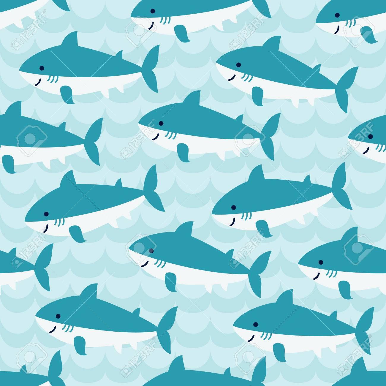 ブルー ウェーブの背景にかわいい漫画サメの群れとのシームレスな
