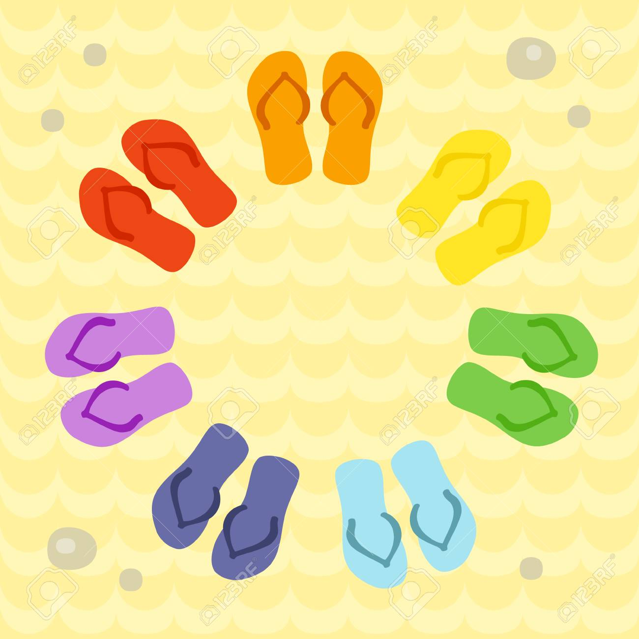 6c641f8c1387b Rainbow Flip Flops In Circle On The Sand. Template For Invitation ...
