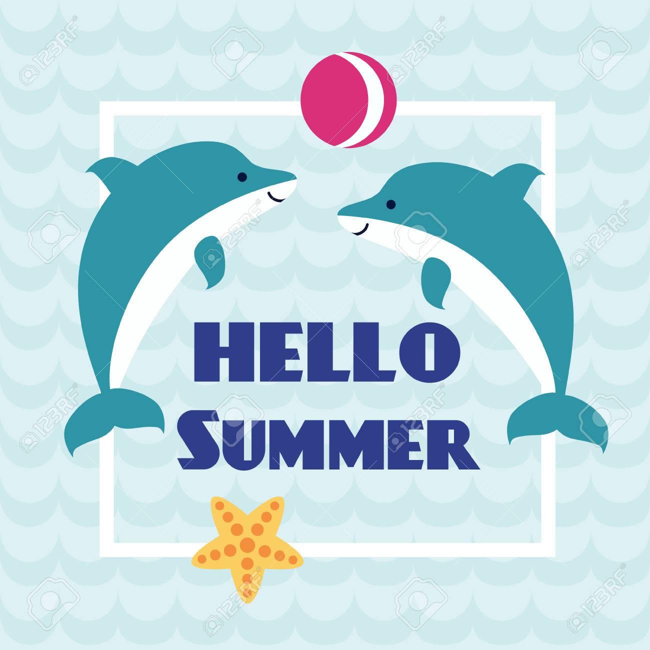 Hello Summer Card With Playing Dolphins And Starfish On Abstract Wave  Background. Design For Invitation