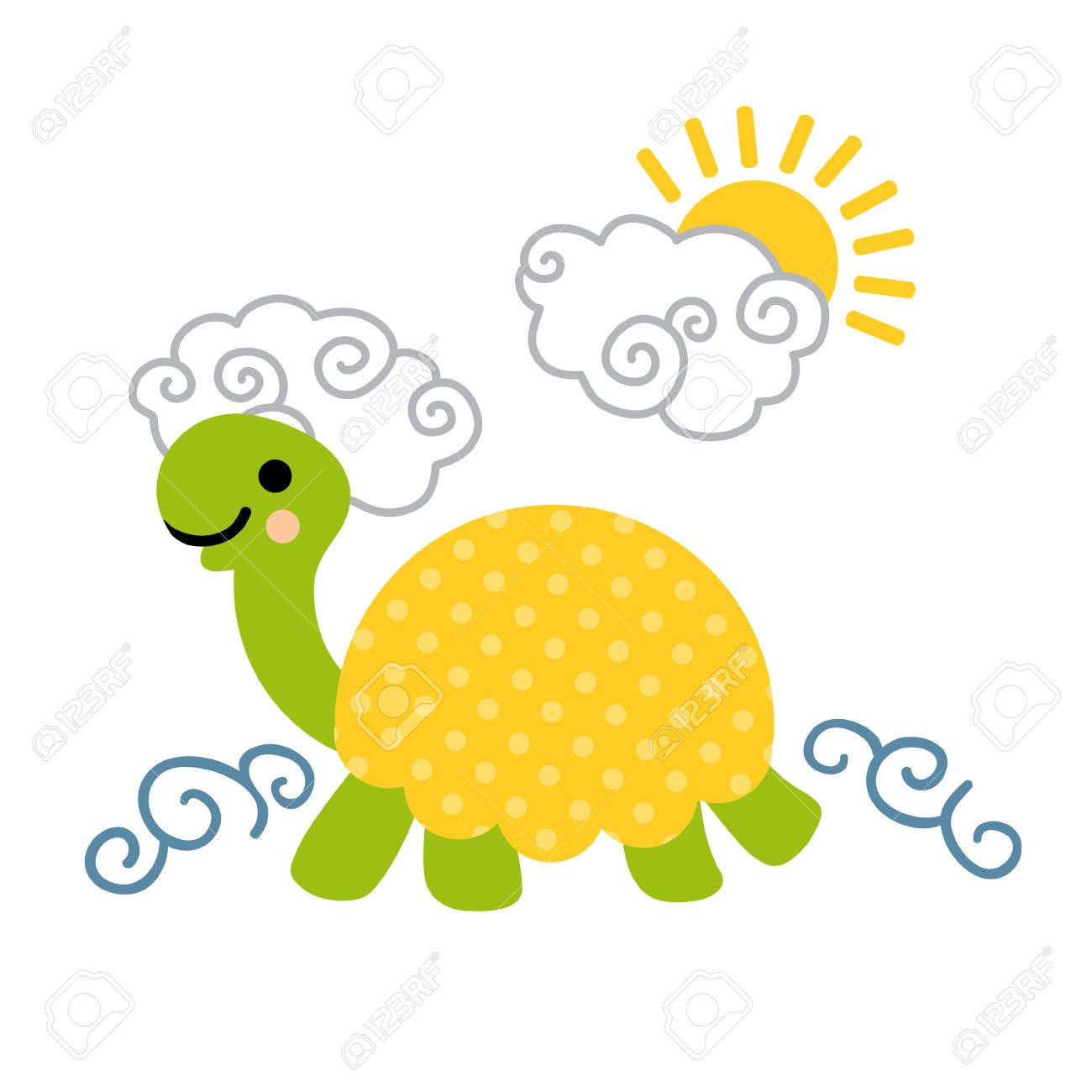 Cute Cartoon Smiling Turtle With Dotted Shell Swimming In The