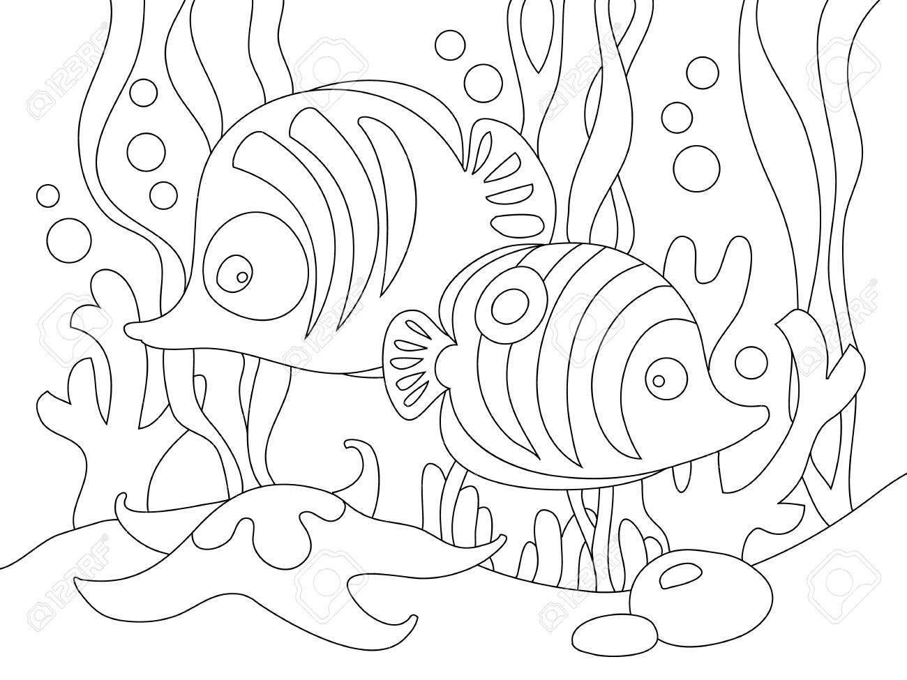 Dos Peces De Dibujos Animados Lindo Bajo El Mar Puede Ser Utilizado Para Colorear Libro Ilustración Vectorial