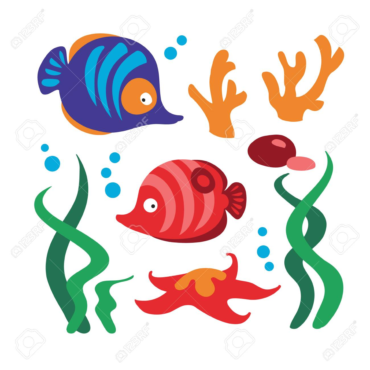 Underwater Set With Two Fishes, Coral, Sea Star, Rocks, Alga ...
