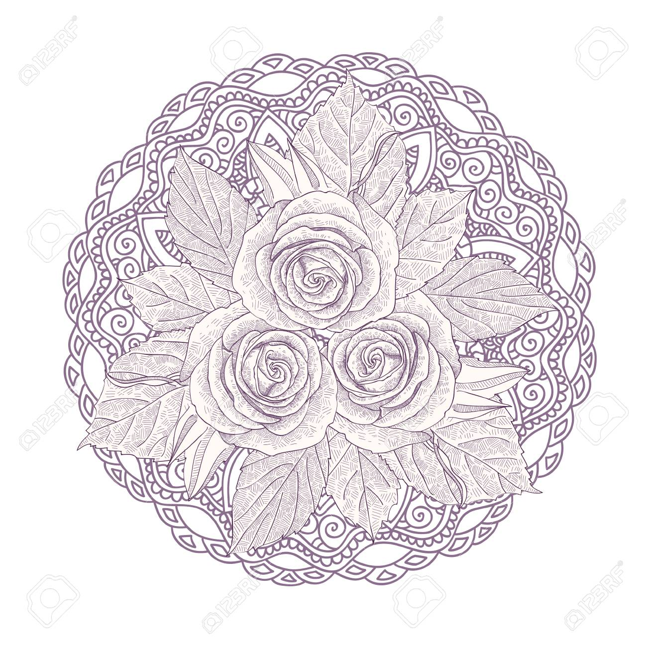 Mandala With Bouquet Of Three Roses Isolated On White Background ...