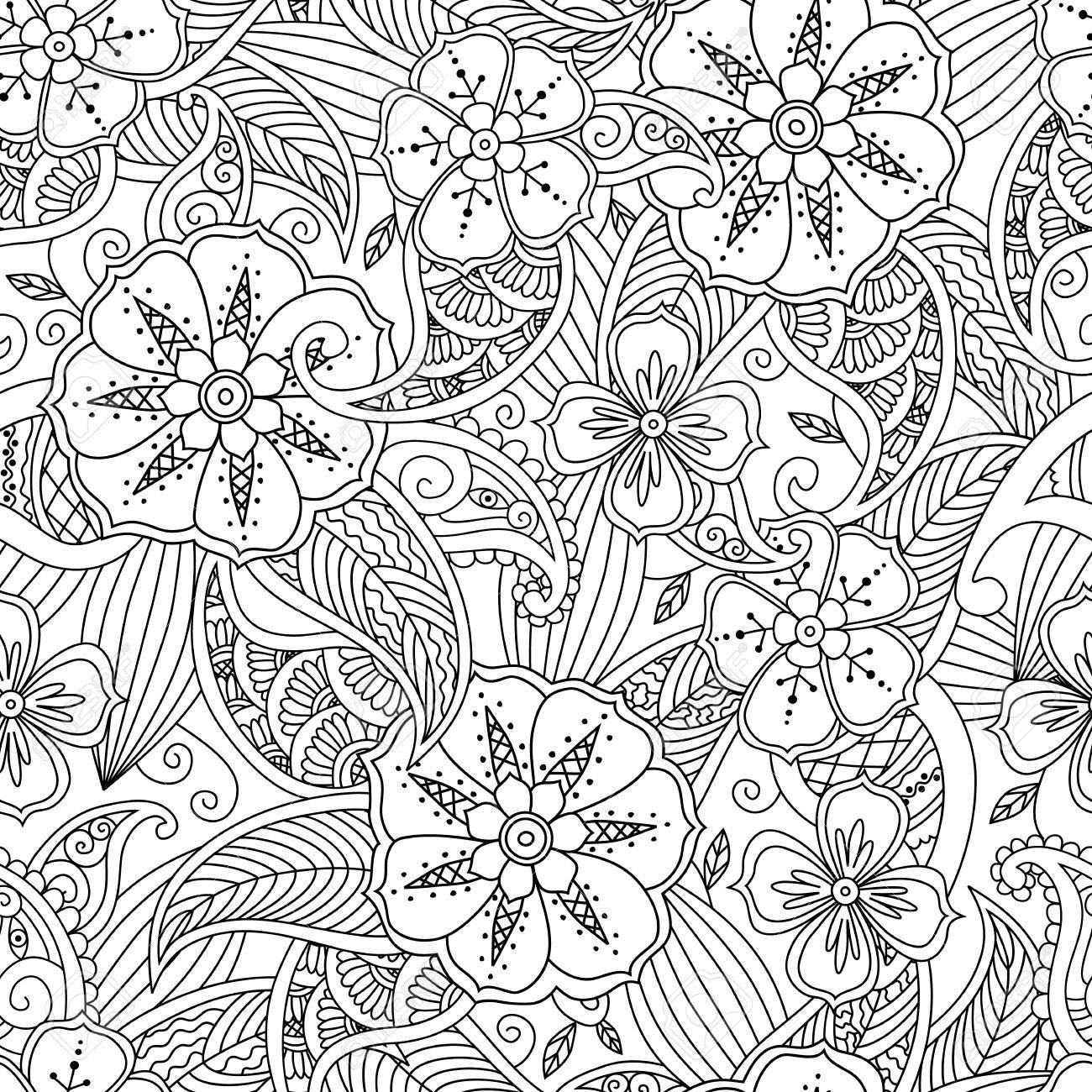 Monochrome Seamless Pattern With Flowers And Leafs In Doodle Mendie Style Coloring Page Beautiful