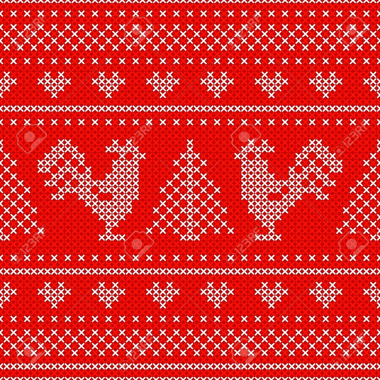 Red Holiday Seamless Pattern With Cross Stitch Embroidered Roosters