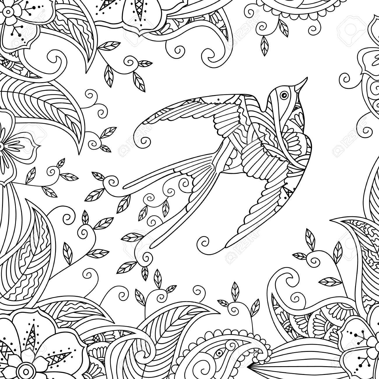 Coloring page with beautiful flying bird and floral background...
