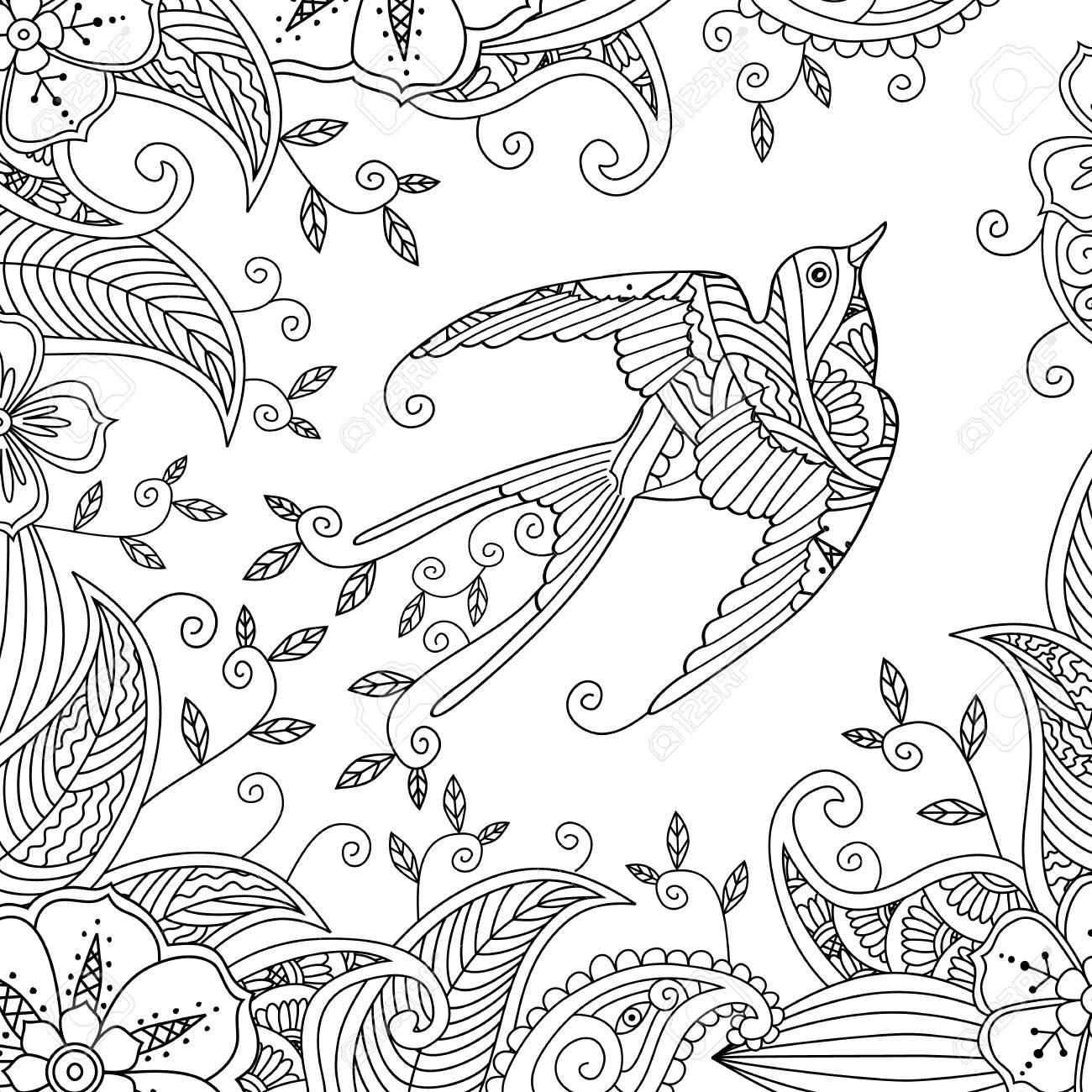 Bonito Pájaro Rosado Enojado Para Colorear Modelo - Dibujos Para ...