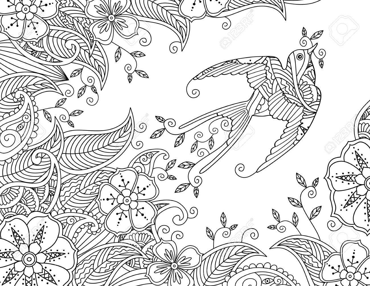 Dibujo Para Colorear Con Hermoso Pájaro Volador Y Fondo Floral