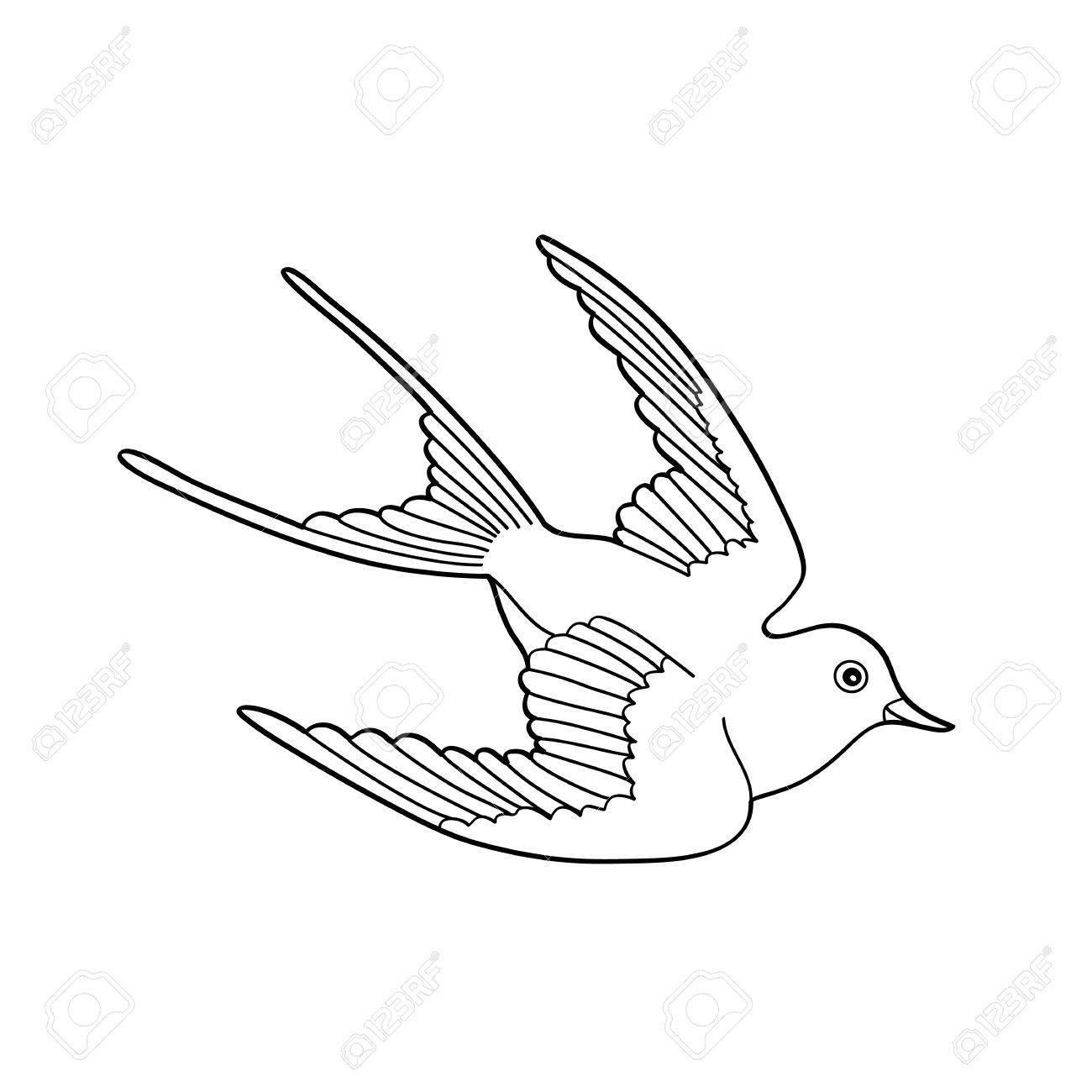 Kontur Bild Der Vogel Fliegen Hand Gezeichnet Isoliert Auf Weißem ...