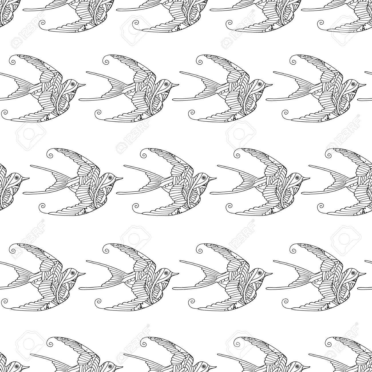 Nahtlose Muster mit Zier Schwalbe Vögel Hand gezeichnet isoliert auf weißem  Hintergrund. Kann zum Ausmalen von Erwachsenen und älteren Kindern ...