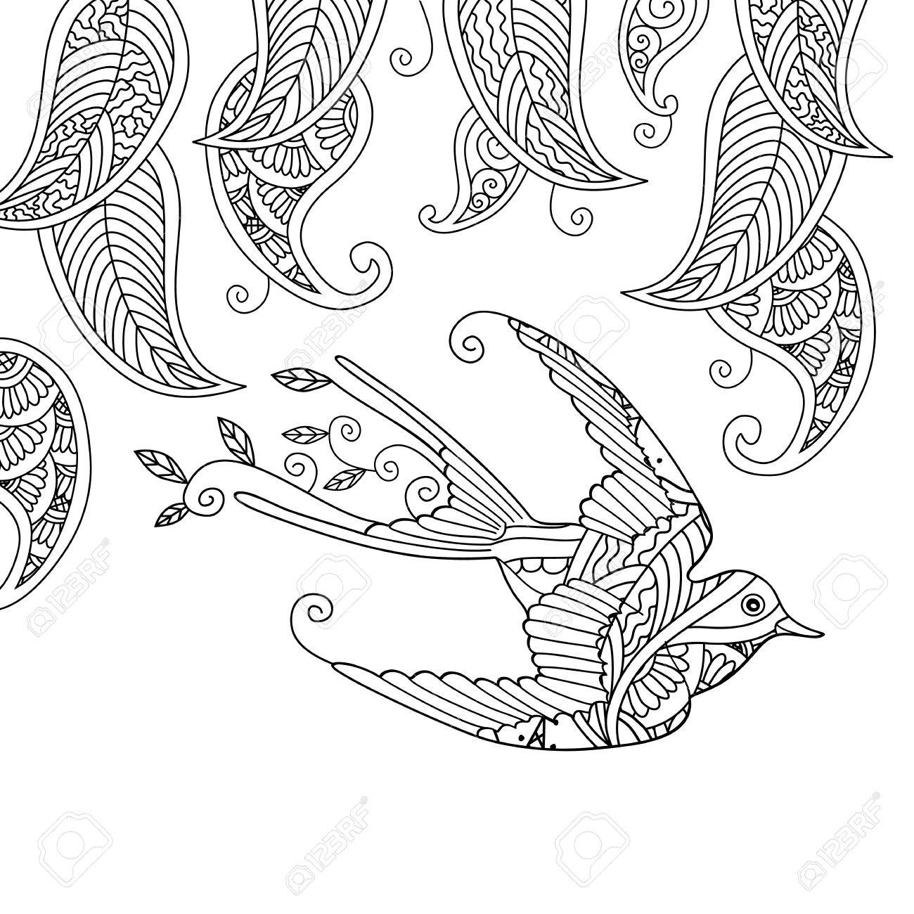 Coloring Page With Beautiful Flying Bird And Willow Leafs Good Quality Book For Adult