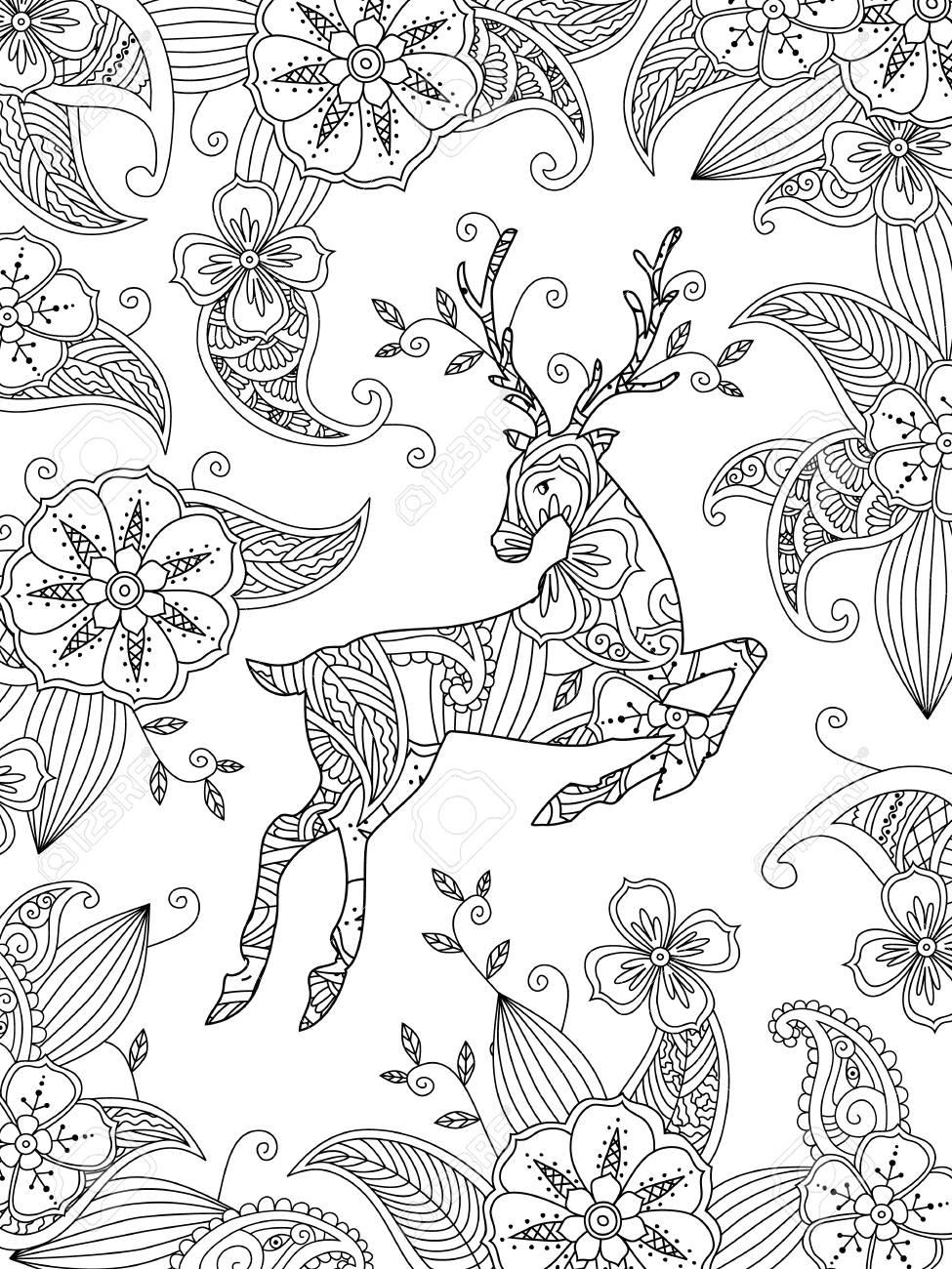 Página Para Colorear Con Ciervos Y Fondo Floral. Composición ...