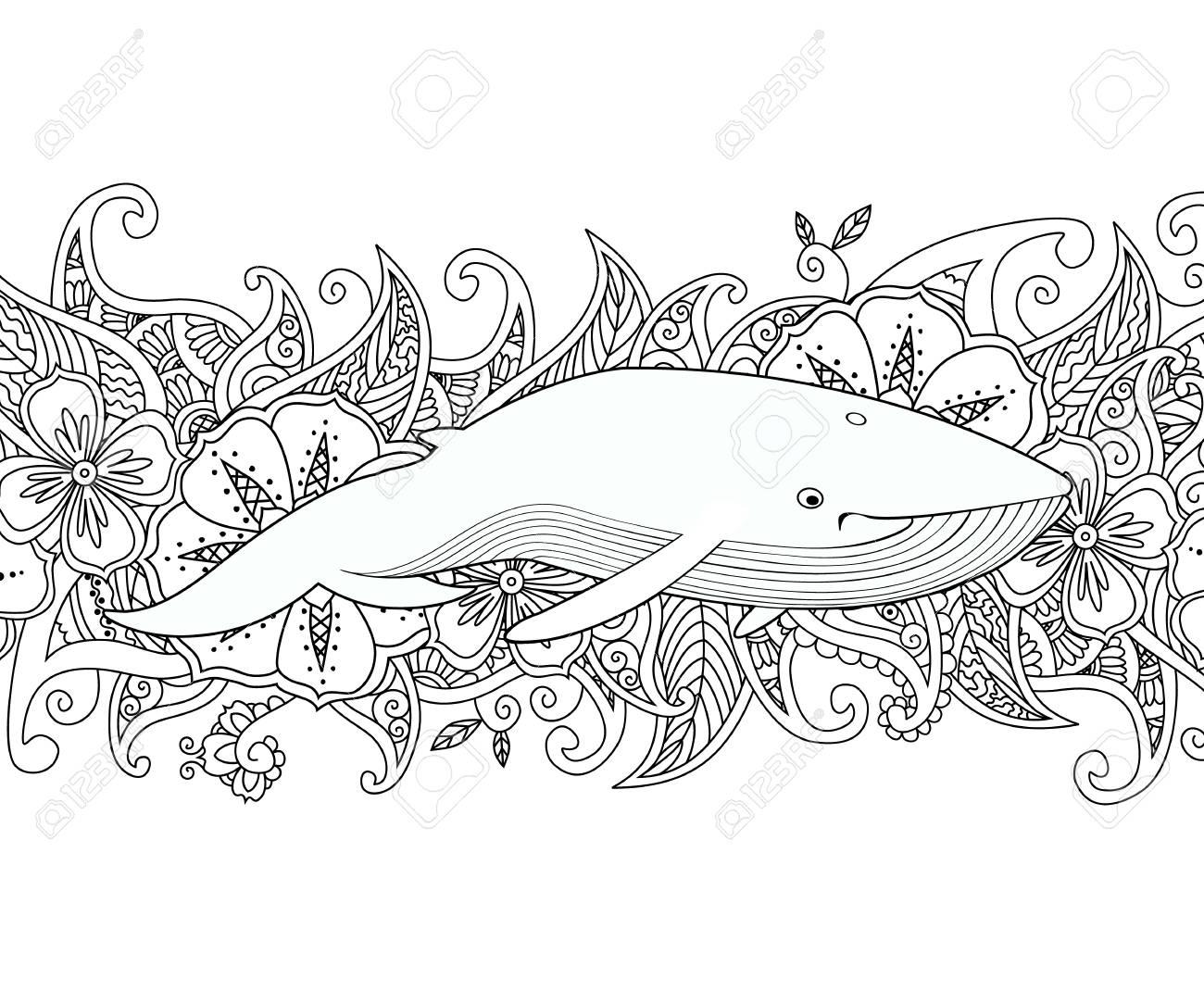 Página Para Colorear Con Ballena En El Mar En El Fondo Del Borde De